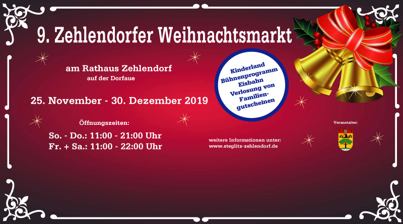 Zehlendorfer Weihnachtsmarkt vom 25. November bis 30. Dezember 2019