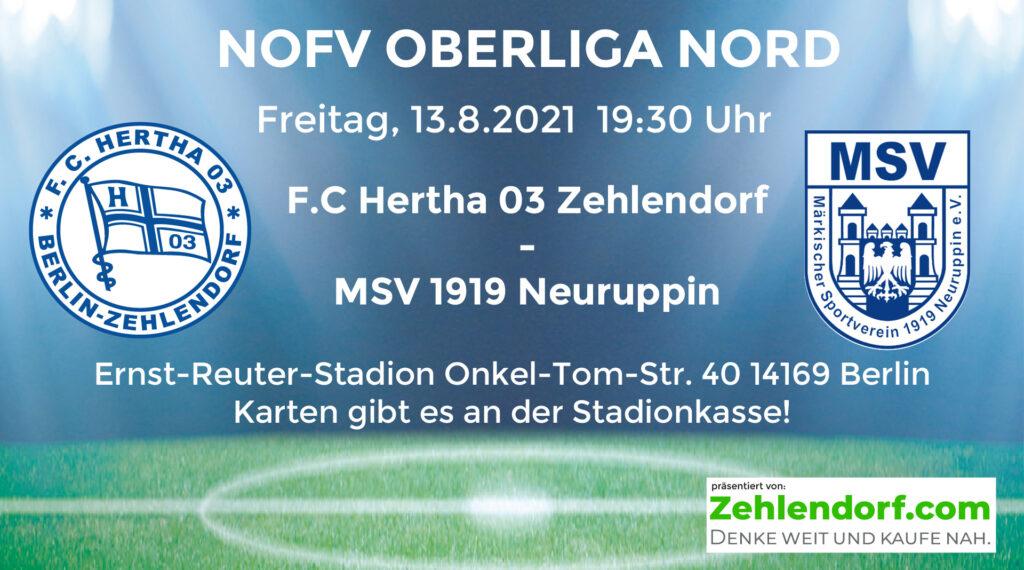 F.C. Hertha 03 Zehlendorf vs. MSV 1919 Neuruppin am 13.8.2021